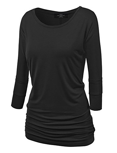 Made By Johnny MBJ WT822 Womens 3/4 Sleeve with Drape Top L Black