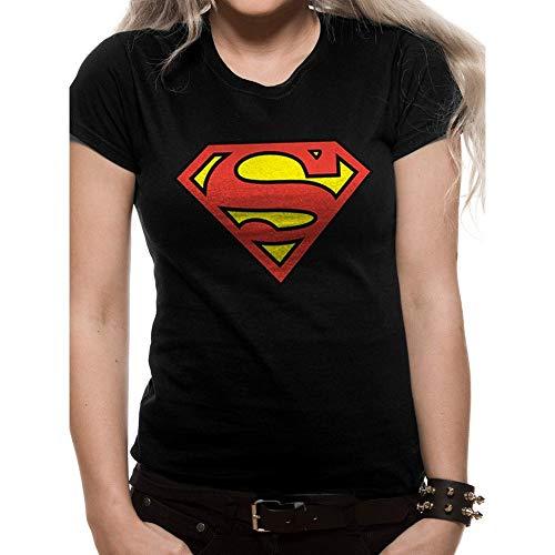 Superman Logo Camiseta, Negro (Black Black), 38 (Talla del Fabricante: Medium) para Mujer
