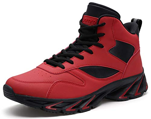 JOOMRA Men's High Top Shoes Red for Walking Jogging Gym Fitness Travel Lace up High Mid Ankle Cushion Trainer Athletic Tennis Sneakers Size 11