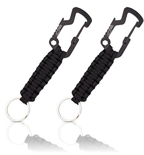 OUTDOOR FREAKZ Paracord Schlüsselanhänger mit Flaschenöffner (schwarz - schwarz)