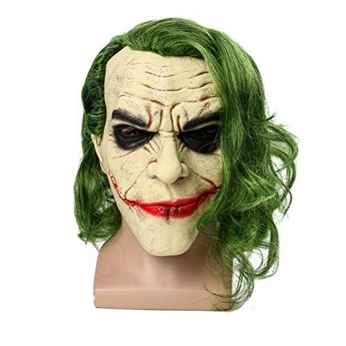 Bsopem Halloween Joker Maske, Cosplay, Horror, Clown, Latex-Maske mit LED Licht und Haar Perücke, für Halloween Kostüm-Party