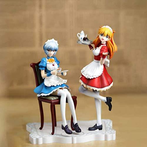 XVPEEN Modelo Hermosa Chica Asuka Y Ayanami Rei Maid Disfraz Café Tarde Té Personaje Animado Estatua Modelo Decoración Personaje De Anime