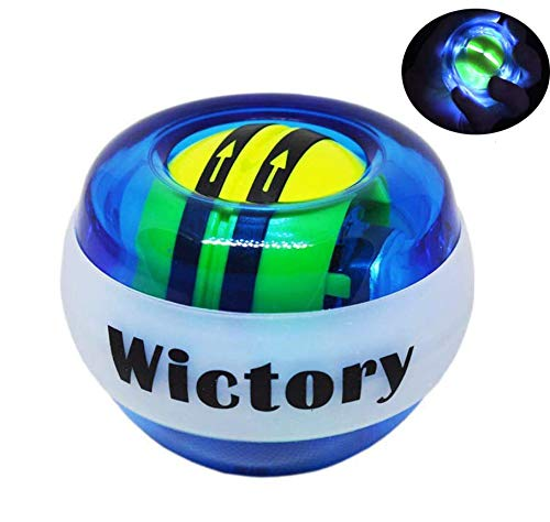 Wictory Auto-Start Wrist Ball Exerciser, Gyro Ball Forearm Wrist Trainer Powerball Hand Grip Strengthener Spinner Gyroball Workout Toy (Blue)