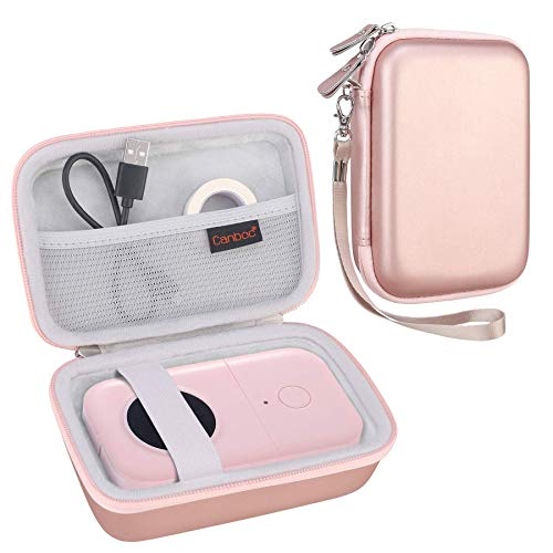 Canboc Hard Carrying Case for Phomemo D30 Label Maker Portable Note Printer Bluetooth Thermal Label Printer Name Price Sticker Tag Printer, Mesh Pocket fits Label Paper, Travel Bag Pouch, Rose Gold