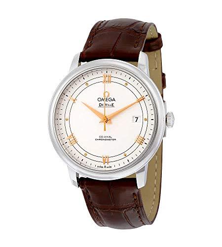 Omega De Ville Prestige 424.13.40.20.02.002 - Reloj de pulsera para hombre con esfera plateada y piel marrón