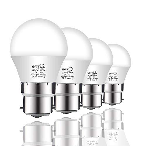 BRTLX G45 LED Lampen B22 5W Warmweiß 3000K 45W Glühbirne Entspricht 220° Abstrahlwinkel 400lm Nicht Dimmbar 4er Pack
