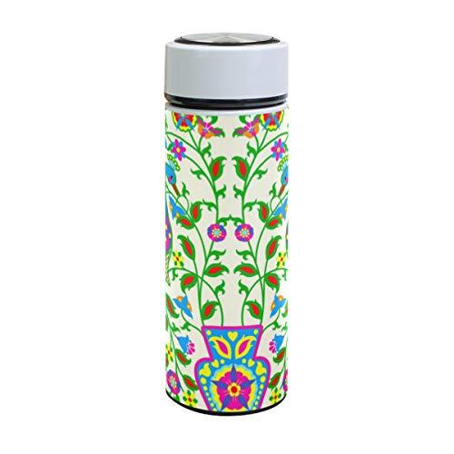 Emoya Botella de agua de acero inoxidable, 500 ml, diseño floral simétrico colorido con dos pavo real y árbol de flores, aislada al vacío, sin BPA, a prueba de fugas, doble pared, boca ancha para bebidas frías y calientes, 17 onzas