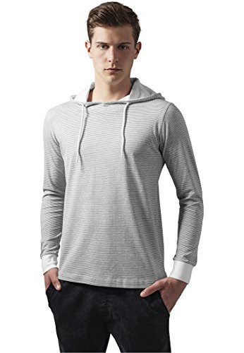 Urban Classics Stripe Jersey Hoody Grey / White - S