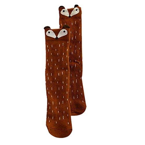 Ouneed® Baby Skid Socken, Kleinkinder Kinder Mädchen Fox Muster Kniestrümpfe (Länge: 27cm Alter 1-3 Jahre, Kaffee)