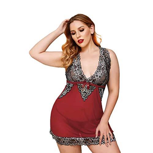 Damen Plus Size Dessous Babydoll Nachthemd Transparente Spitze Chemise V-Ausschnitt Mesh Nachtwäsche Braut Nachthemd Spitze Perspektive Mesh Splicing Plus Size Dessous mit einem Tanga,Red-4X~Large