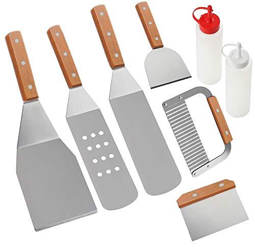 Home Safety Grillbesteck Set - 8-TLG Grillspachtel Set Werkzeugset, Profi BBQ Zubehör Grillwender aus Edelstahl mit mit Quetschflaschen und Tragetasche für Grillen im Freien, Teppanyaki, Camping