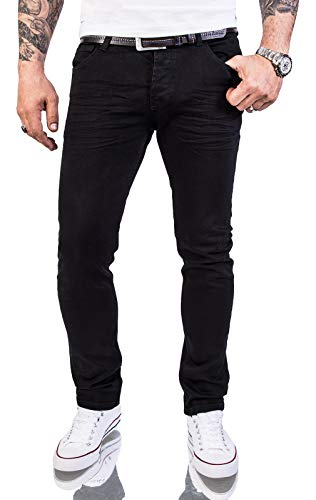 Rock Creek Herren Jeans Hose Slim Fit Stretch Jeans Schwarz Herrenjeans Herrenhose Denim Rinsedwash Knitter Look Stretchhose RC-2146 Pureblack W38 L32