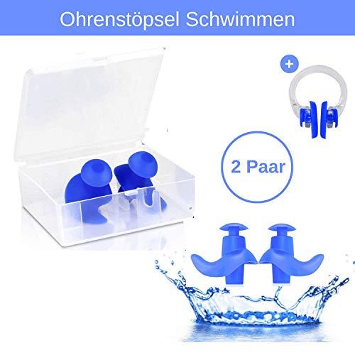 Sweatness 2 Paar Wiederverwendbare Ohrstöpsel Schwimmen für Erwachsene (inkl. Nasenklammer) aus Silikon - Schützt vor Wasser im Ohr - Mit Aufbewahrungsbox