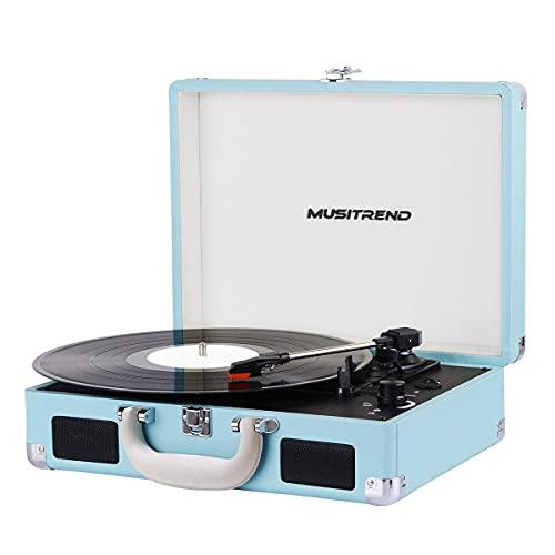 MUSITREND Tocadiscos de Vinilo con Bluetooth, Tocadiscos Vintage de 3 Velocidades con Altavoces Incorporados, para Discos de Vinilo de 7/10/12 Pulgadas, AUX/RCA, Azul