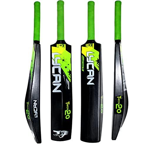 Lycan T20 Hard Plastic Cricket Bat for Tennis Ball, Wind Ball Size : Adult, black
