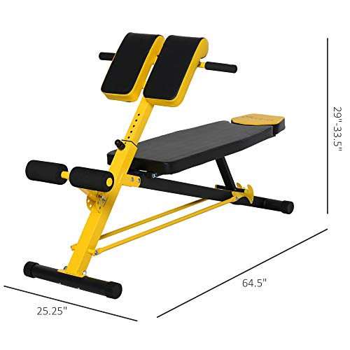Soozier Adjustable Hyper Extension Bench Roman Chair Dumbbell Weight Ab Multifunction Workout Press