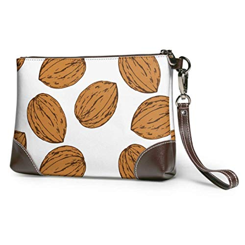 Leather clutch Soft Waterproof Purse Clutch Bag Whole And Peeled Walnut Ladies Leather Wristlet With Zipper For Women Girls