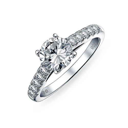 Bling Jewelry 1,75Ct Redondo AAA CZ Solitario Anillo De Compromiso Corte Brillante Zirconia Cúbico Piedras Promesa Banda Lateral 925