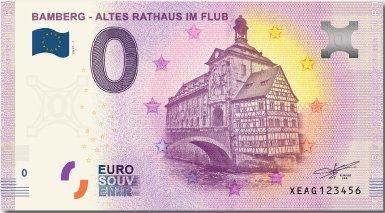 EuroSouvenir 0 EURO Schein Altes Rathaus im Fluss Bamberg