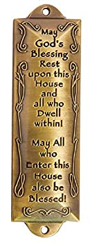 1 X Bless This House Brass Mezuzah with Hebrew Parchment in Gift Box & Placement Guide by Unbranded