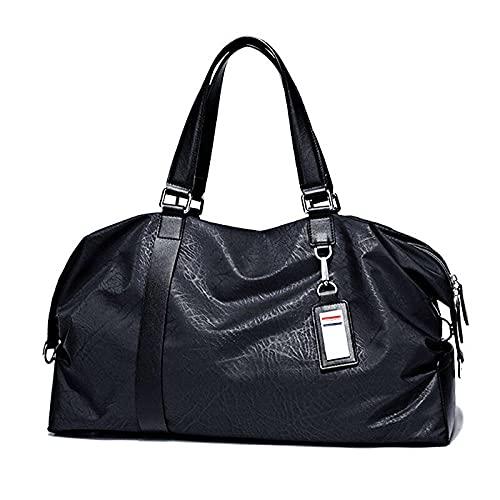 Borsa da viaggio da uomo fatta a mano povera piccola e media borsa da viaggio leggera borsone da palestra borsa da allenamento maschile di marca di moda sportiva borsa da allenamento-Nero