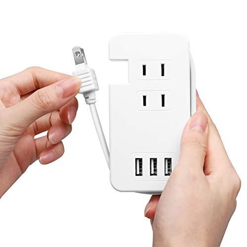 Ewin 電源タップ USB コンセント 急速充電 ACコンセント3口&USBポート3口 雷ガード 過負荷保護 省エネ コードが本体に収納可能 PSE認証済 ACアダプター 1年メーカー保証 (ホワイト)