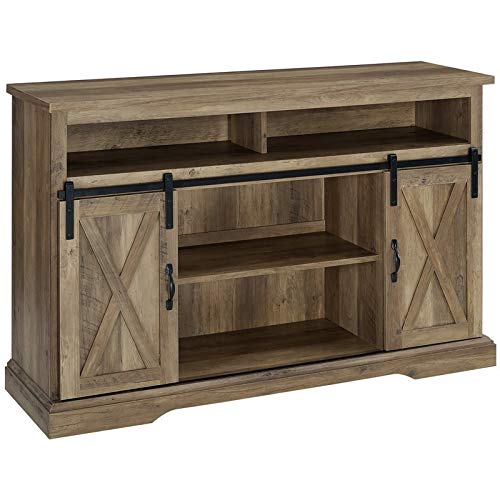 BOWERY HILL Modern Farmhouse Sliding Barn Door Wood 52' Highboy TV Stand Console Storage Cabinet in Reclaimed Barnwood