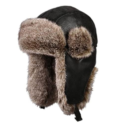 DongBao Sombrero de Aviador de Piel Sinttica Unisexo Gorro de Trampero con Orejeras Sombrero Ruso para al Aire Libre