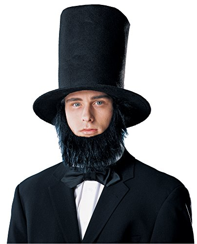 Costume Culture Men's Abraham Lincoln Hat with Beard, Black, Standard