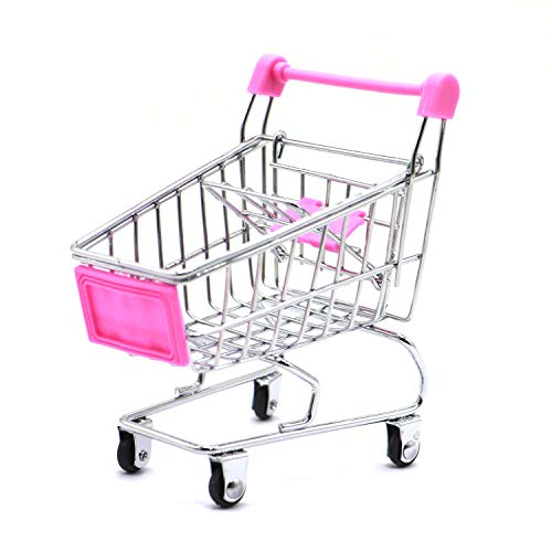 Kids Mini Shopping Cart Roll Wheel Moving Doll Toys Holder Cool Desk Holder Tiny Cute Supermarket Cart Trolly Sturdy Metal Novelty Adorable Gifts For Children (hot pink, XS(4.5×3.4×4.7 inch))