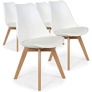 Menzzo España Pack de 4 sillas nórdicas Bovary Blanco Roto en PVC ...