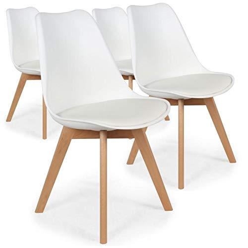 Menzzo España Pack de 4 sillas nórdicas Bovary Blanco Roto en PVC Asiento en PU (Blanco)