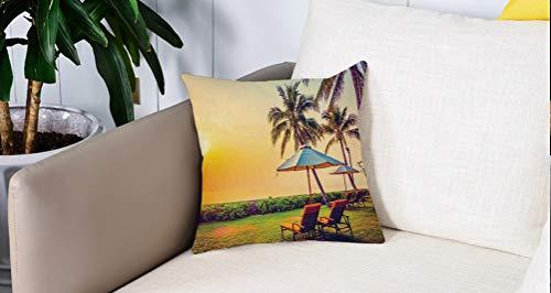 Pillowcase,Cuscini da Letto,Mare, ombrellone vuoto e sedie sulla spiaggia di palme al tema delle vacanze di Twilight Times, Cuscini Per Copricuscini Divano Caso Federa Home Decorativi 45x45 Cm