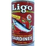 Ligo Sardines Red with Chilie イワシの缶詰め(トマトソース漬け) 辣鱼罐头 155g 原産国名 フィリピン Philippines 菲律宾 写真の賞味期限は撮影時のものです。実際とは違う場合があります。照片仅供参考