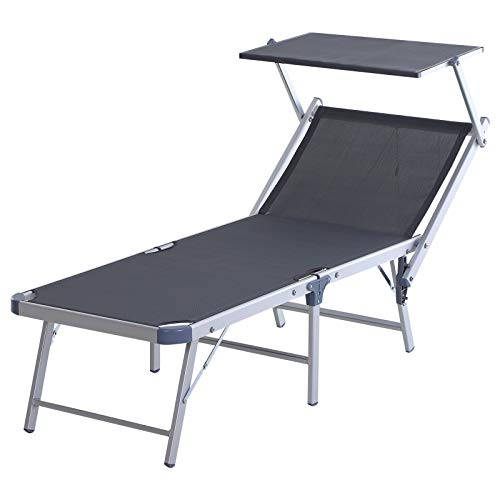 Outsunny Garden Sun Lounger Textilene Chaise Lounge Reclining Chair with Canopy Adjustable Backrest Bed Aluminium Frame - Grey