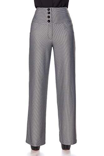 Belsira Vintage Marlene Hose Frauen Stoffhose schwarz/weiß M, 100% Polyester, Rockabilly