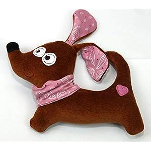 Kuscheltier Hund Dackel rosa personalisierbar mit Namen, Rassel, Bio Nicki 100% Baumwolle (Füllung 100% Polyester) 21 x…