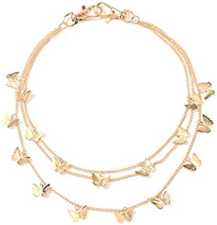 Yellow Chimes Trendy Fashion Stainless Steel Golden Butterfly Multilayer Jeans Chain for Women and Girls