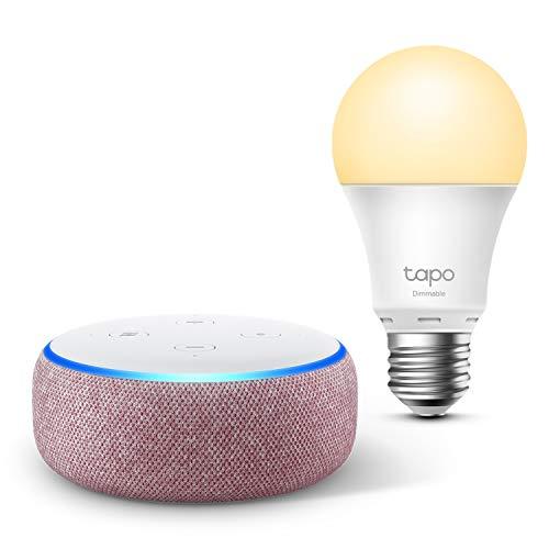 Echo Dot (3e génération), Tissu prune + TP-Link Tapo Ampoule Connectée (E27), Fonctionne avec Alexa