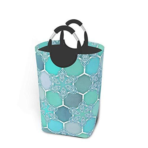 N\A Frozen Mint Honeycomb - Doodle Hexagon Pattern Cesto de lavandería Plegable portátil, Organizador de cestas de Ropa Sucia con asa para Libros de Juguete, Almacenamiento de Lavado