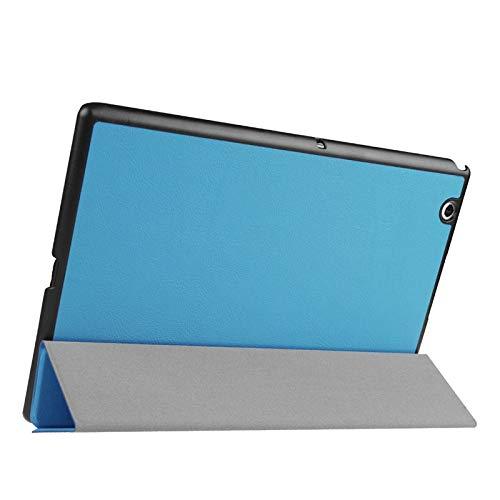 Funda Protectora para Tablet Funda de Cuero con Tapa Horizontal de Textura de Cruz con Soporte de 3 Plegables para Sony Xperia Z4 Tablet (Color : Blue)