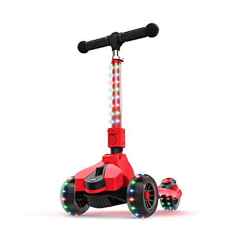 Jetson Saturn Folding 3-Wheel Kick Scooter, Red - Light-Up Stem & Deck, Lean-to-Steer Design with Sturdy Wide Deck & Adjustable Height, for Kids Ages 3+