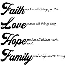 """Wall Quote Decal - Faith, Love, Hope, Family Vinyl - 12"""" x 12"""" for Bedroom, Living Room, and Play Area, Easy to Install and Remove Decal"""