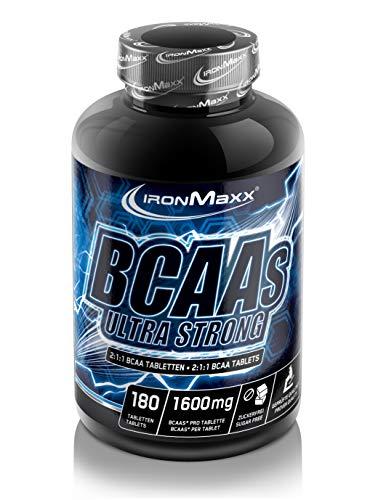 IronMaxx BCAAs Ultra Strong - 180 Tabletten - hochdosierte BCAA-Tabletten im Ideal-Verhältnis von 2:1:1, essentielle Aminosäuren - Ideal für Sportler & Bodybuilder- Designed in Germany