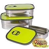 Zeerkeer Boîte à Lunch à 3 Étages,Boîte à Lunch Thermique,Boîte à bento pour la ,Boîte à Lunch Étanche,Boîte de Conservation des Aliments sans BPA Adaptée aux Enfants,Adultes(Vert)