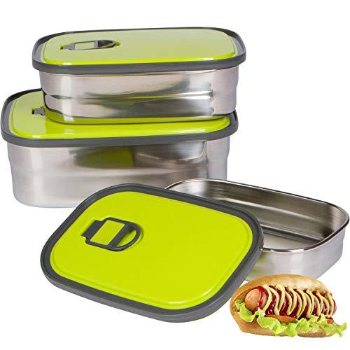 Bento Lunch Box Set Auslaufsicher Wiederverwendbare 3er Packung Edelstahl Lagerung Lebensmittelbehälter für Männer Frauen oder Kinder ● BPA frei ● Arbeits /Brotdose Edelstahl Sandwich Box(Grün)