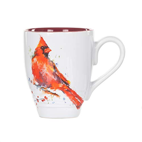 Dean Crouser Cardinal Watercolor Red On White 16 Ounce Glossy Stoneware Mug With Handle