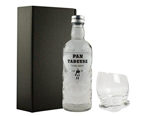 Geschenkidee Pan Tadeusz mit extravagantem, handgefertigten Glas in Geschenkbox | Polnischer Wodka | 40%, 0,7 Liter