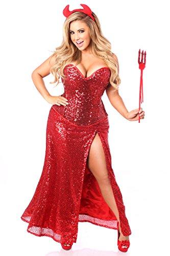 Daisy Corsets Women's Top Drawer Premium Sequin Devil Costume, Red, 3X