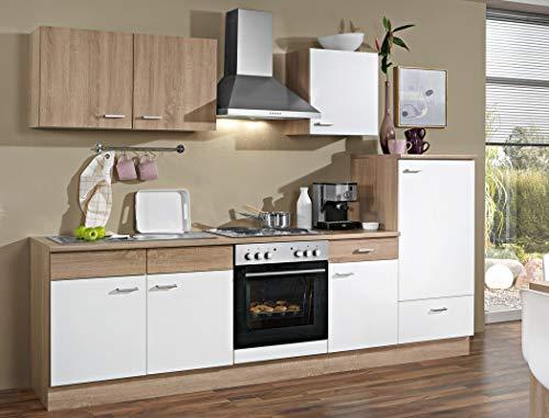 expendio Küchenblock Solina 270 cm mit E-Geräten komplett weiß Sonoma Eiche Küchenzeile Einbauküche Komplett-Küche